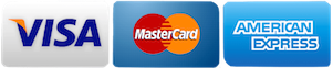 Visa MasterCard and American Express Cards Accepted